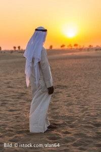 Arab in the Arabian desert on a hot sunny day